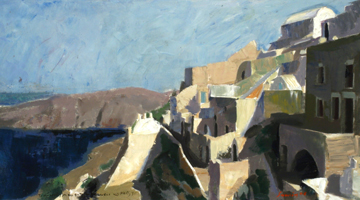 The landscape of Santorini in the Greek painting of 20th century