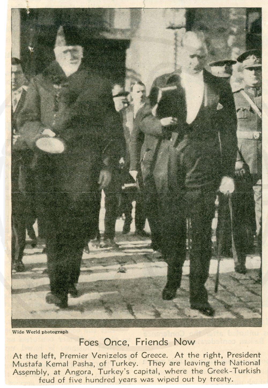 Ο Ελευθέριος Βενιζέλος με τον Μουσταφά Κεμάλ Ατατούρκ - Μουσείο Μπενάκη